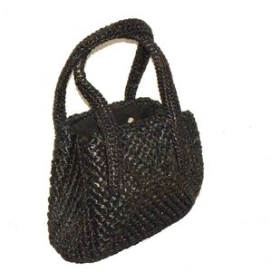 VTG 50s 60s Black Woven Purse Babette made JAPAN